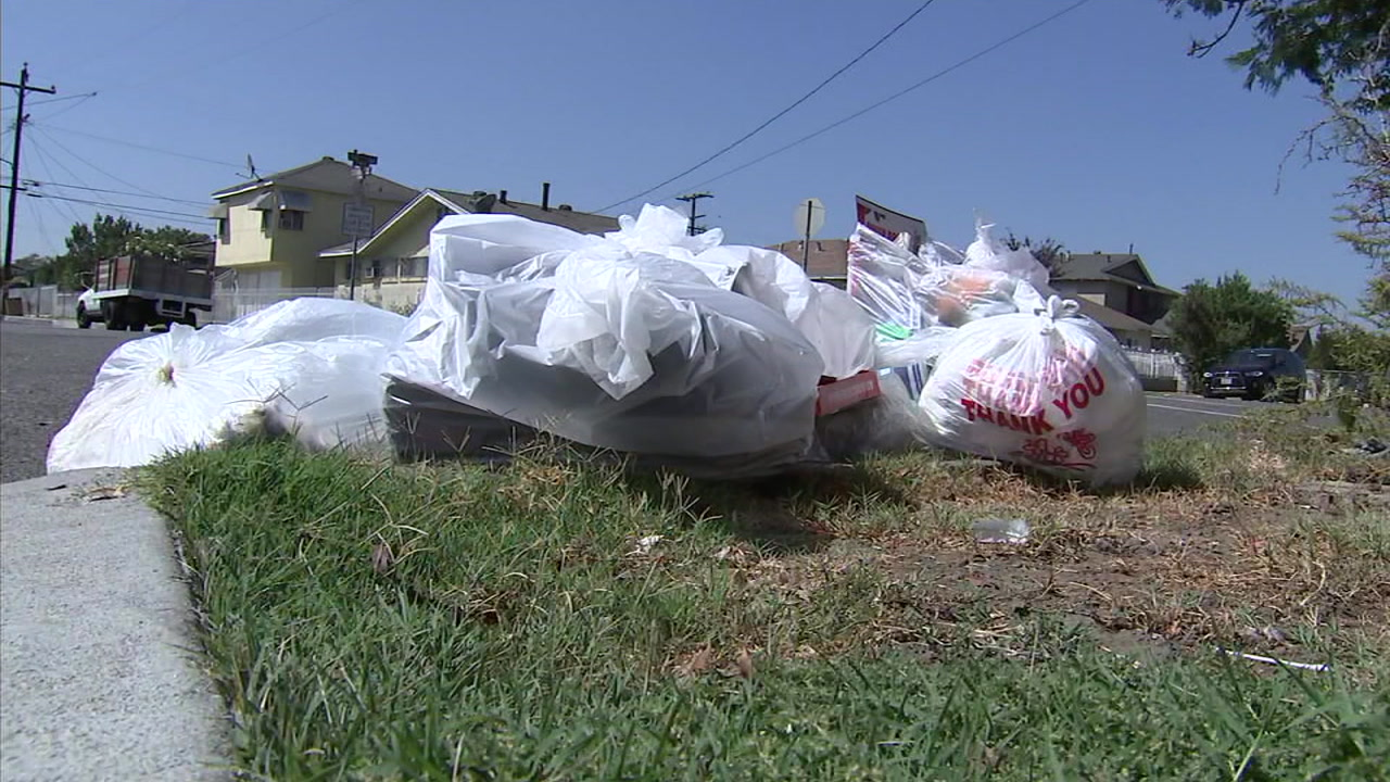 Piles of trash are shown on the curb of a Maywood street as residents wait for bins from a new trash collecting company.