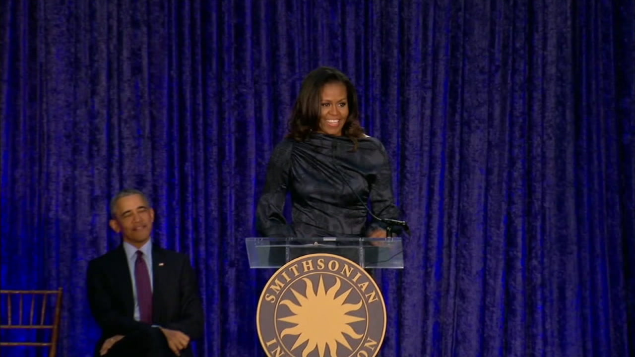 Michelle Obama is seen in this undated photo alongside her husband, former President Barack Obama.