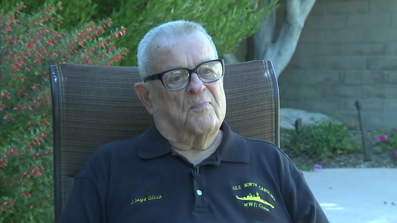 Lloyd Flick, 94, is shown during an interview where he talked about being on the USS Carolina during WWII.