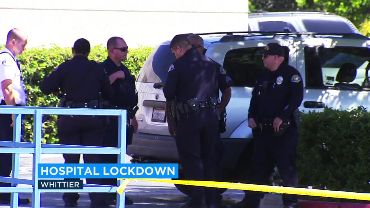 Whittier Hospital Medical Center was placed on lockdown Sunday on a report of a man with a gun which turned out to be a suicide.
