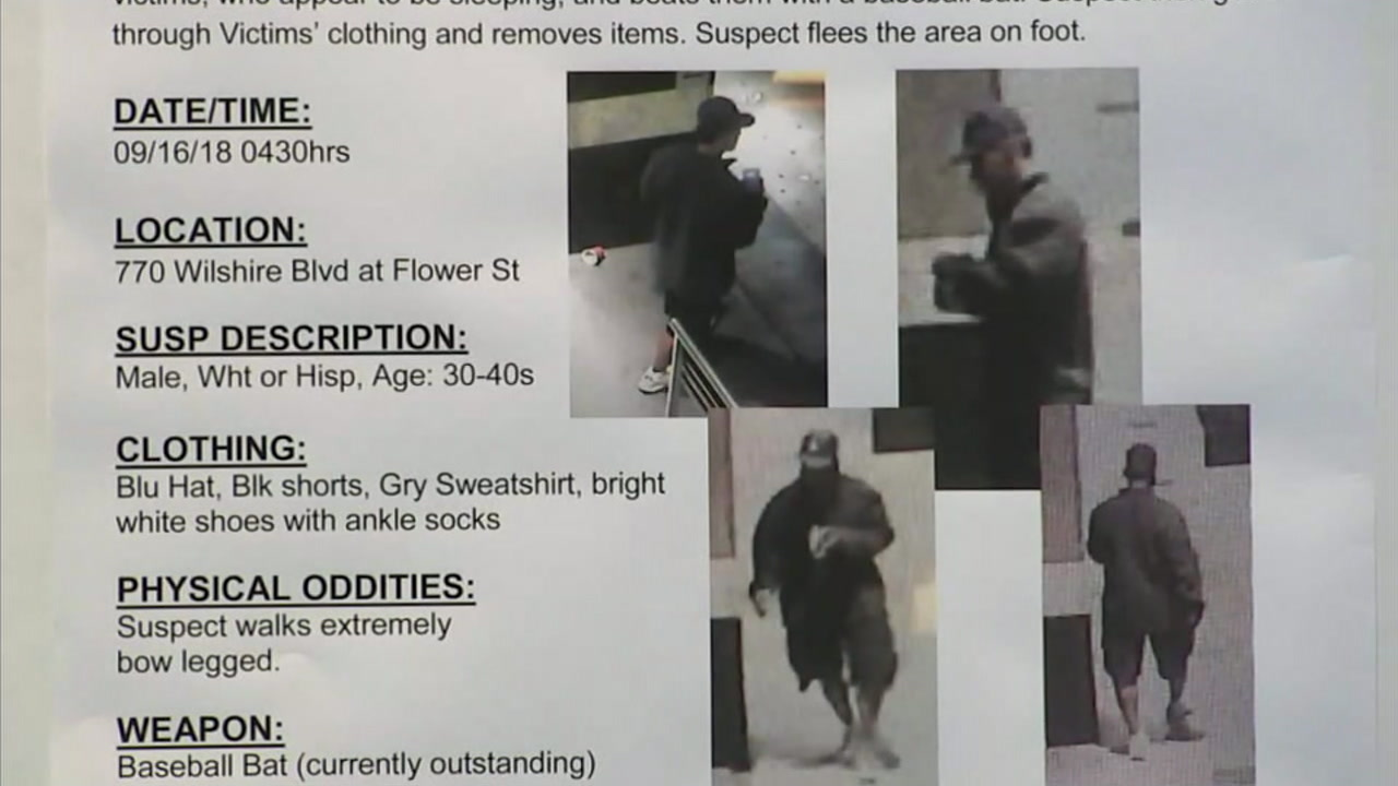 Part of a flyer used to describe a suspect wanted for beating three homeless men is shown.