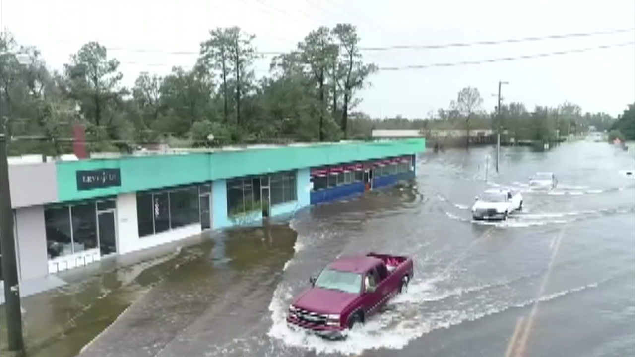 Still-rising floodwaters are seen on Monday, Sept. 17, 2018, after Hurricane Florence hit the Carolinas.