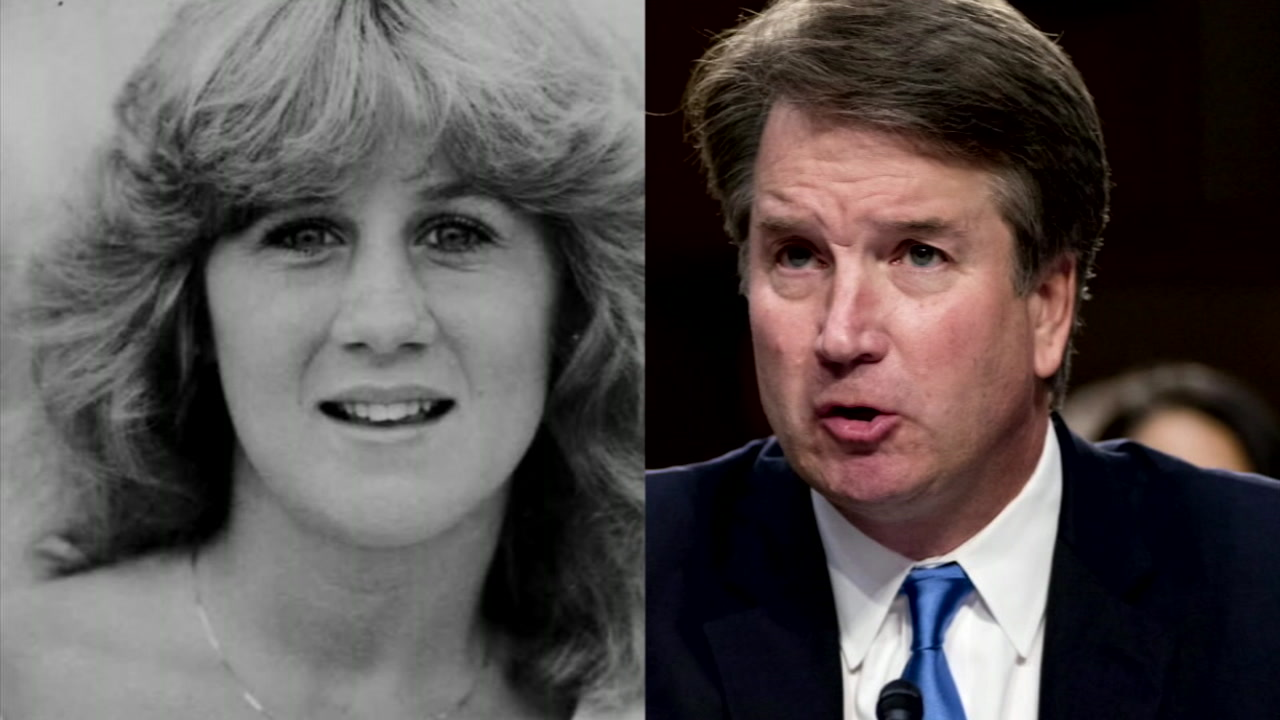 Christine Blasey Ford (L) is shown in an undated photo alongside confirmation hearings of Supreme Court nominee Brett Kavanaugh (R).