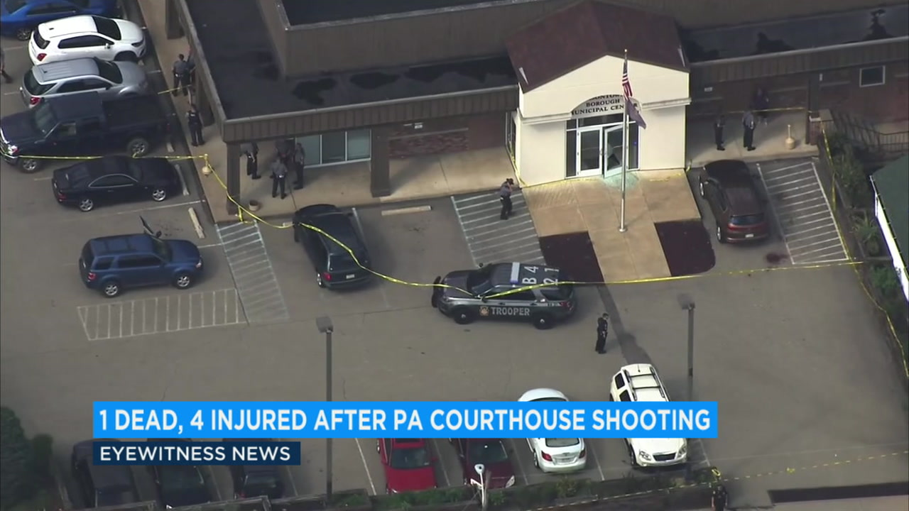 The scene of a shooting that left the gunman dead at a Pennsylvania courthouse on Wednesday, Sept. 19, 2018.