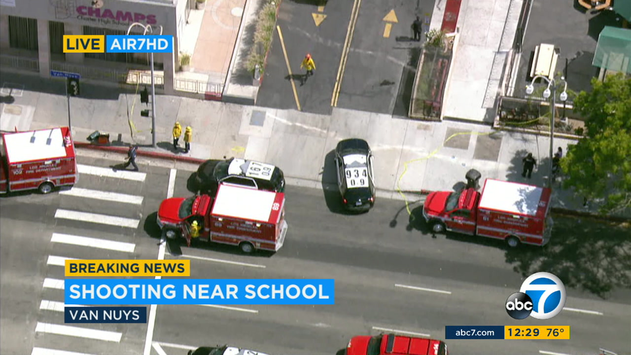 The scene of a shooting near a charter school in Van Nuys on Thursday, Sept. 20, 2018.