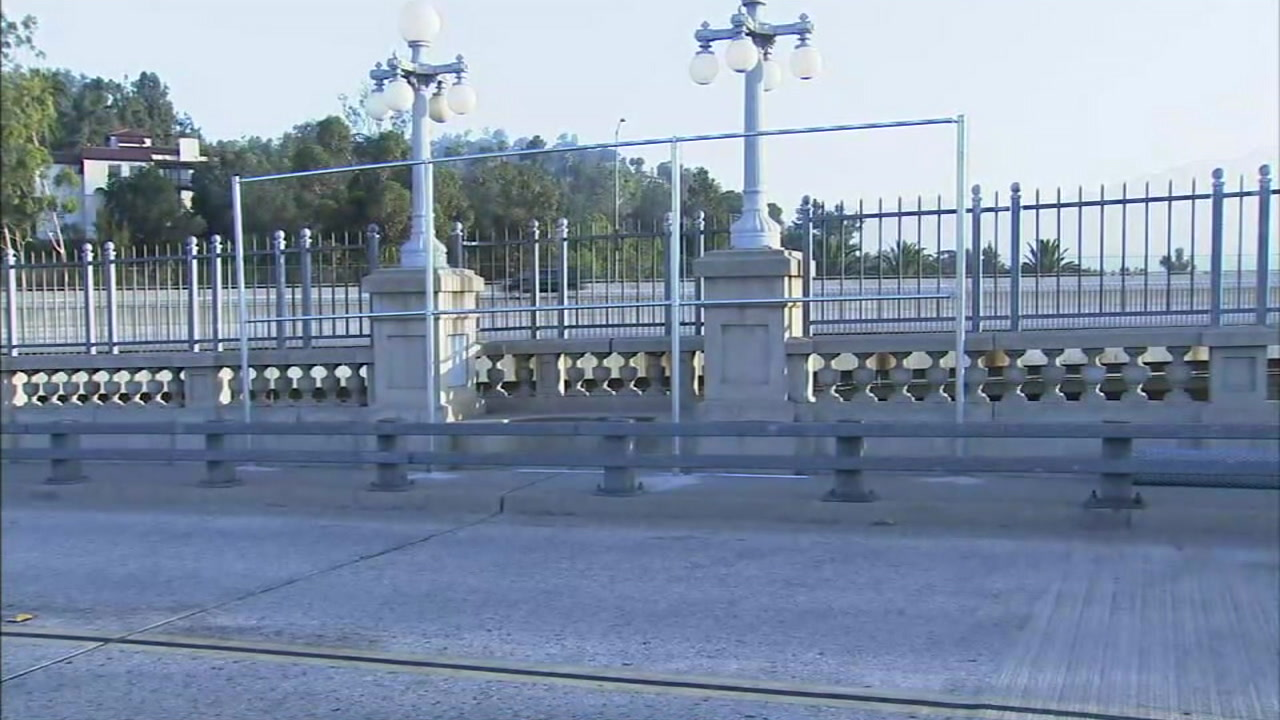 Parts of the Colorado Street Bridge in Pasadena are shown where larger suicide barriers will be placed.