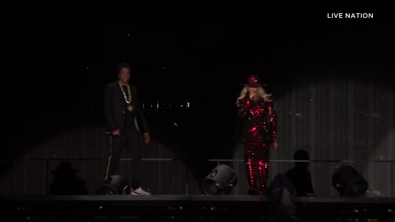 Beyonce and Jay Z are shown during their On the Run 2 tour going on at the Pasadena Rose Bowl.