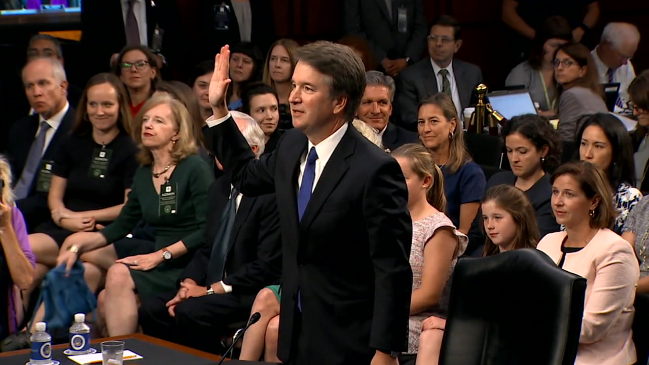 U.S. Supreme Court nominee Brett Kavanaugh is shown during one of his confirmation hearings.