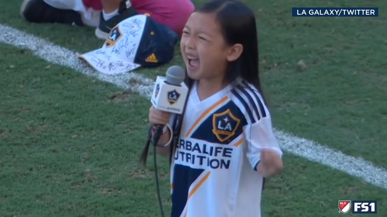 Malea Emma, 7, sings the national anthem ahead of the L.A. Galaxy game on Sunday, Sept. 23, 2018.