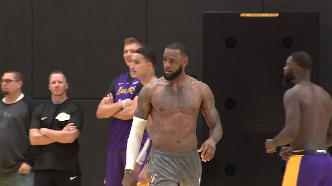 The revamped Lakers held their first official practice with LeBron James and the roster of free agents signed over the summer.