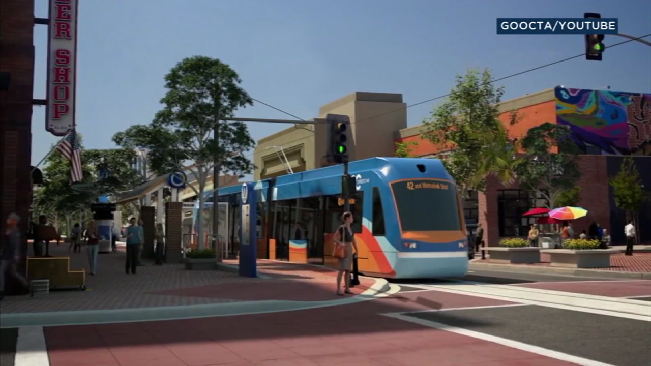 Orange Countys first streetcar is shown in a simulation photo.