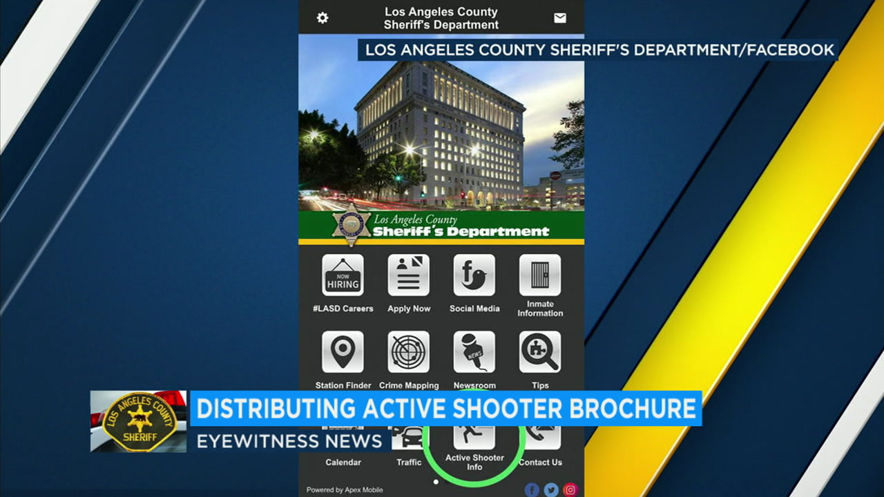 An active shooter survival brochure distributed by the Los Angeles County Sheriffs Department is shown.