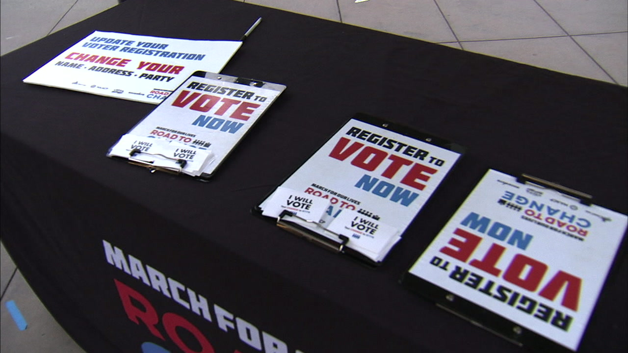 Voter registration forms are shown in a photo.