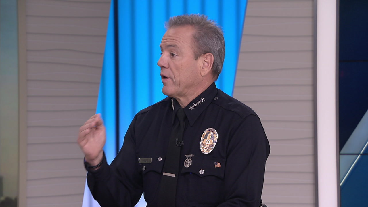 Los Angeles police Chief Michel Moore is shown in the ABC7 studios during an interview.