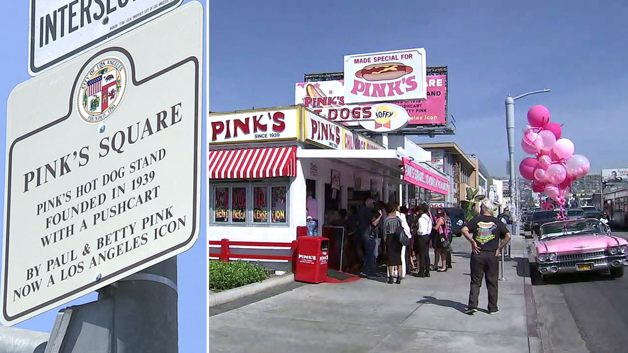 Pinks Hot Dogs and a Pinks Square sign are shown in front of the restaurant in Los Angeles.