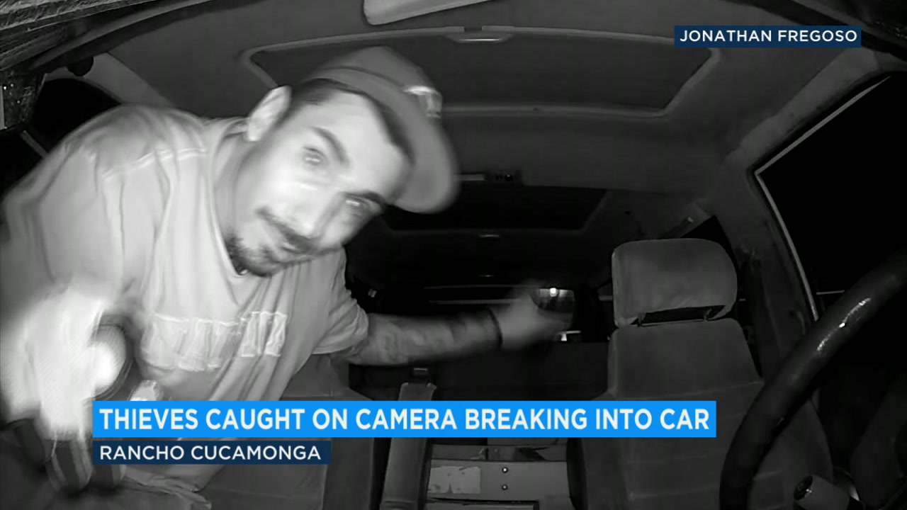 A pair of thieves broke into a car in Rancho Cucamonga and stole $2,000 in tools, not knowing a camera was capturing clear images of them the whole time.