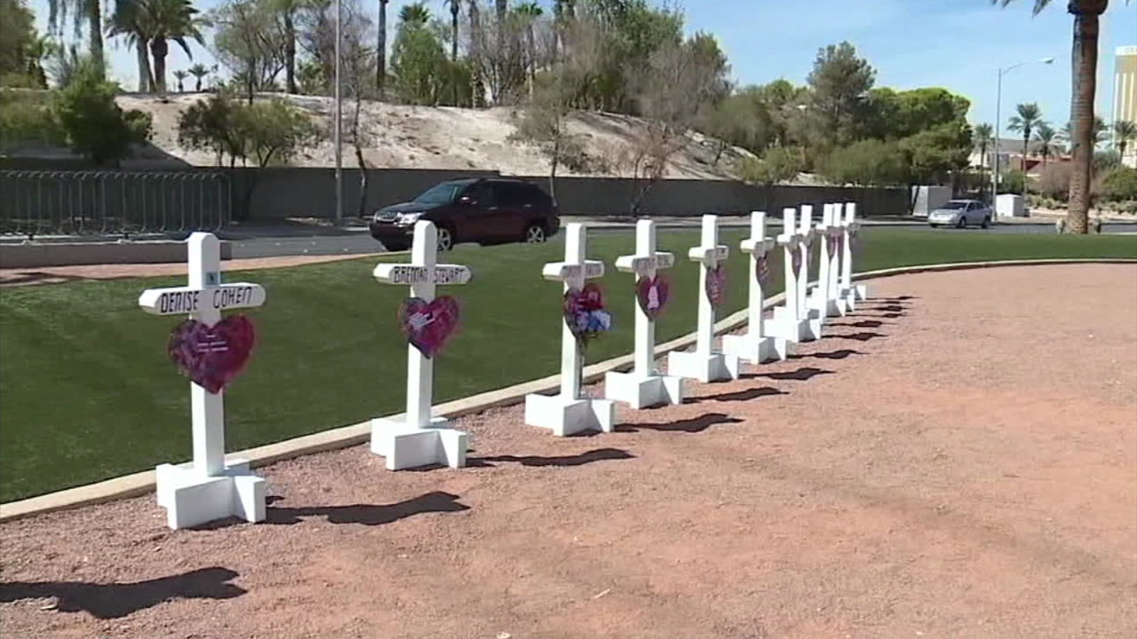Crosses are seen to honor the victims in the Las Vegas mass shooting one year after the massacre.