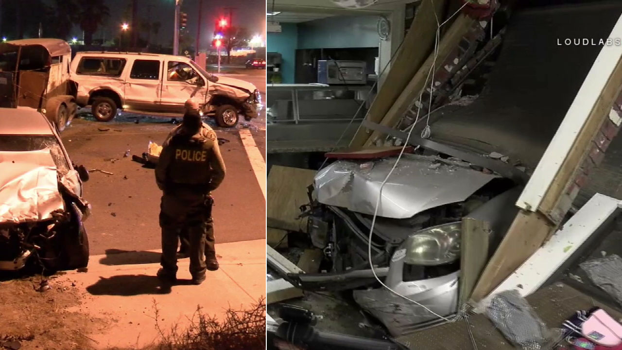 The scenes of two crashes in the Inland Empire following a street takeover on Sunday, Sept. 30, 2018.