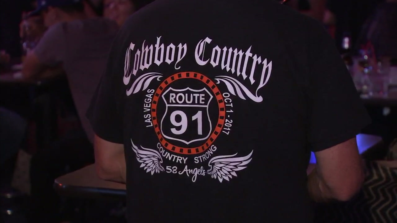 A shirt made in honor of the victims and survivors of the Route 91 Harvest Festival in Las Vegas is shown.