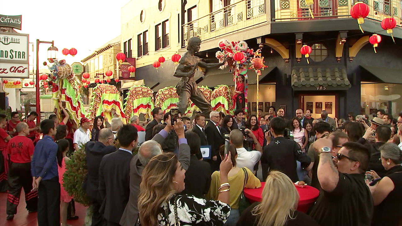 Chinatown celebrated its re-birth with an 80th anniversary celebration that featured the unveiling of a statue of the late Bruce Lee.