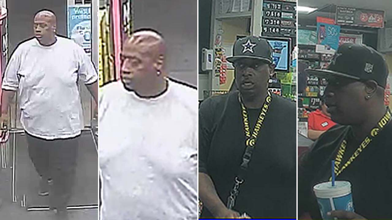 A robbery suspect is seen in multiple surveillance images.