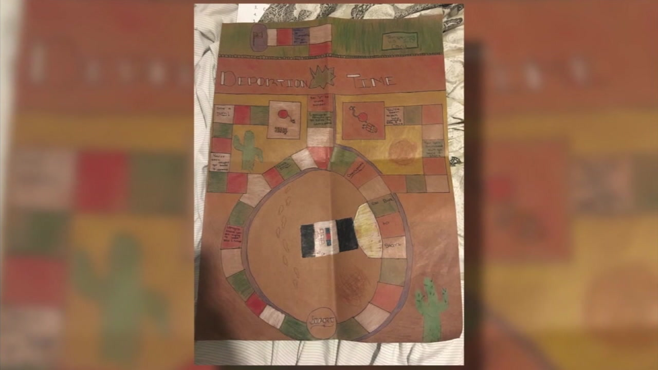 The board for the Deportation Time game the Oceanside school students created is shown in a photo.