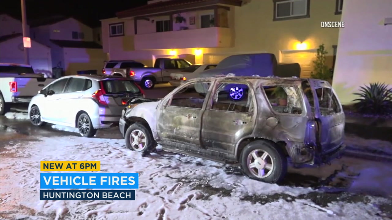An arson spree in Huntington Beach left five cars consumed by flames overnight.