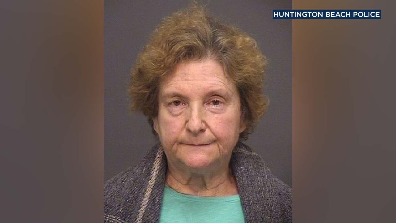 Cynthia Strange, 64, of Irvine, is seen in a booking photo.