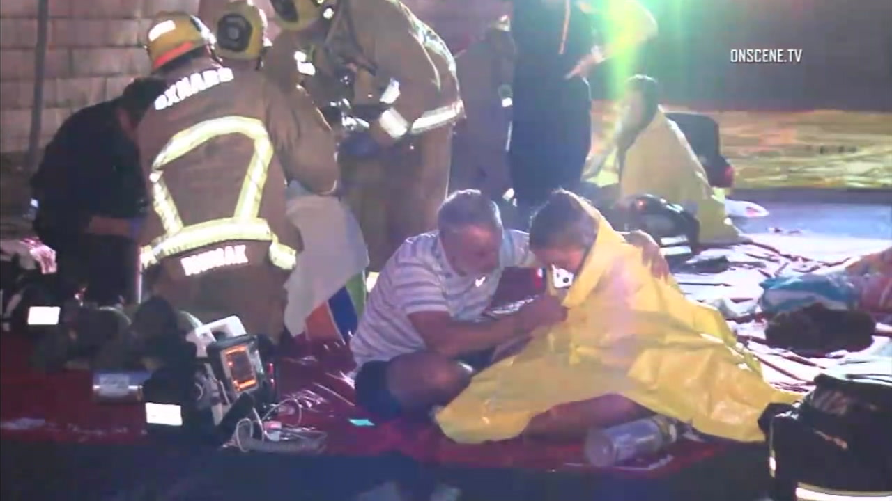 Swimmers overcome by an accidental release of pool chemicals were treated at the scene by paramedics in Thousand Oaks.