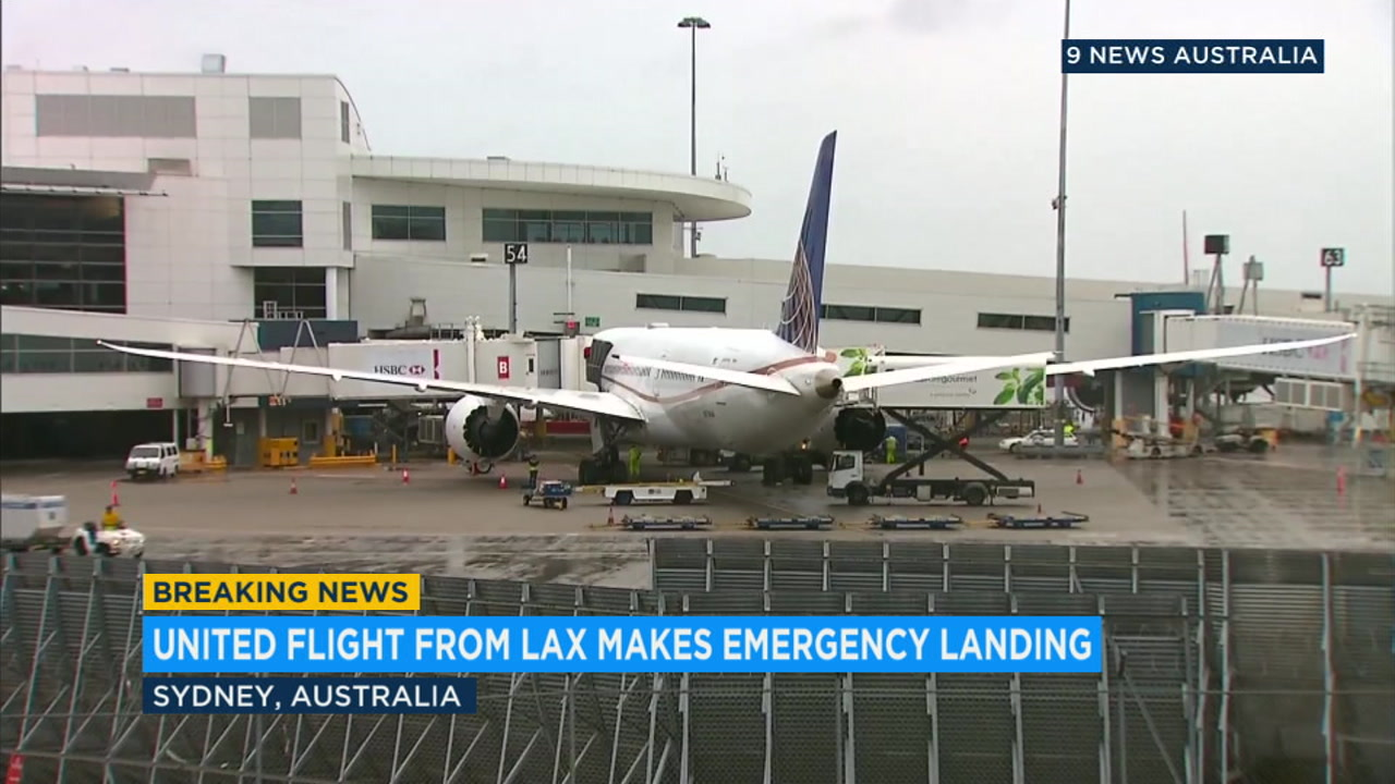 A United Airlines plane from Los Angeles is shown at the airport in Sydney, Australia, after it made an emergency landing because of low fuel.