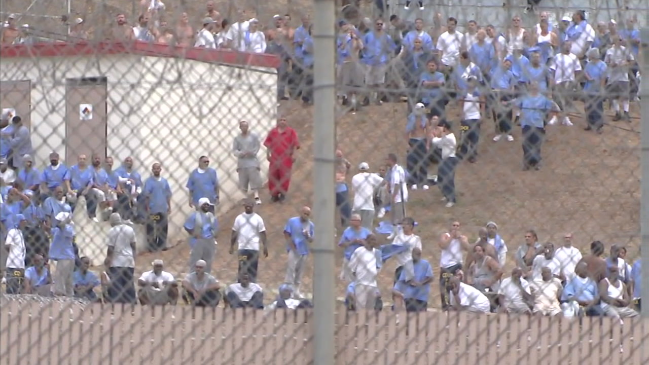 Inmates are shown in the yard at the California Rehabilitation Center in Norco.