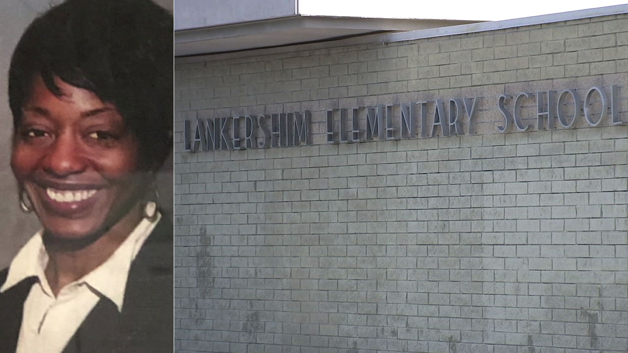 Cecia Robinson is shown in an undated photo alongside a sign for Lankershim Elementary School in Highland.