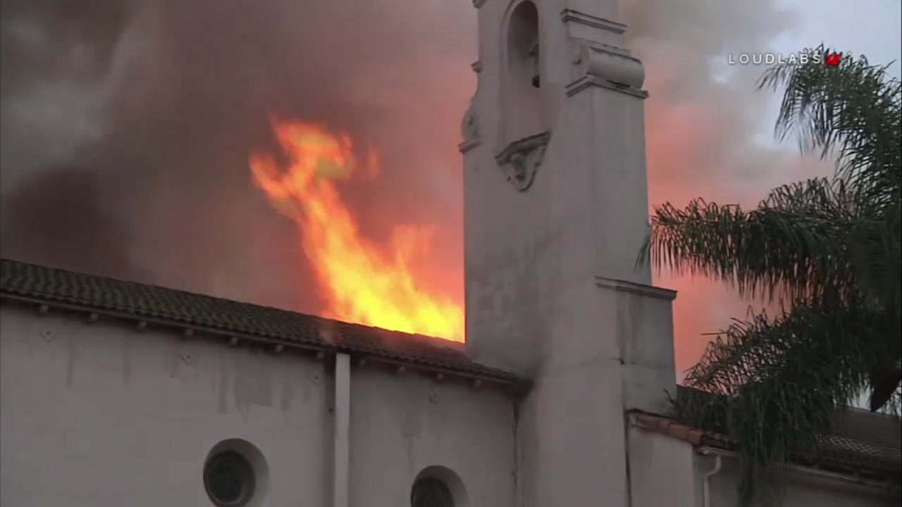 A fire erupted at an abandoned church near downtown Los Angeles on Thursday, Oct. 4, 2018.