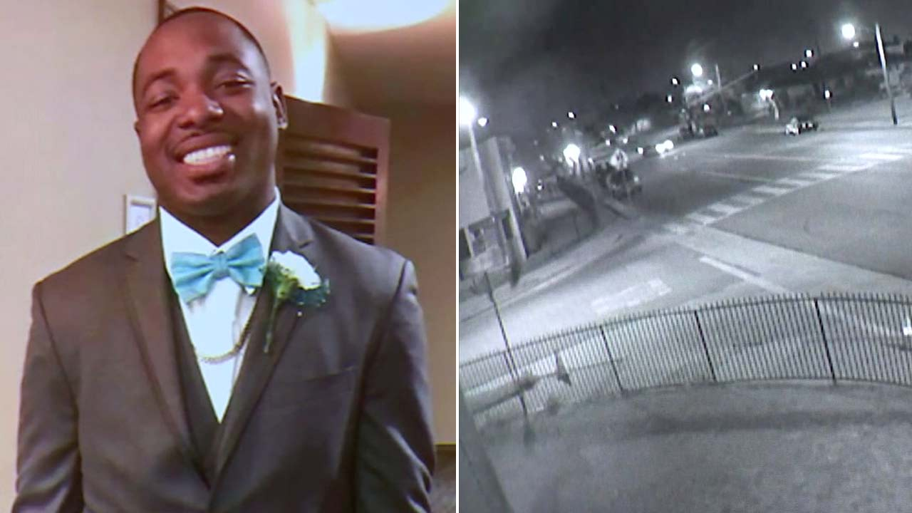 (Left) Undated photo of Frank Douglas. (Right) Still image of surveillance video released by LASD showing car circling neighborhood before Douglas murder.