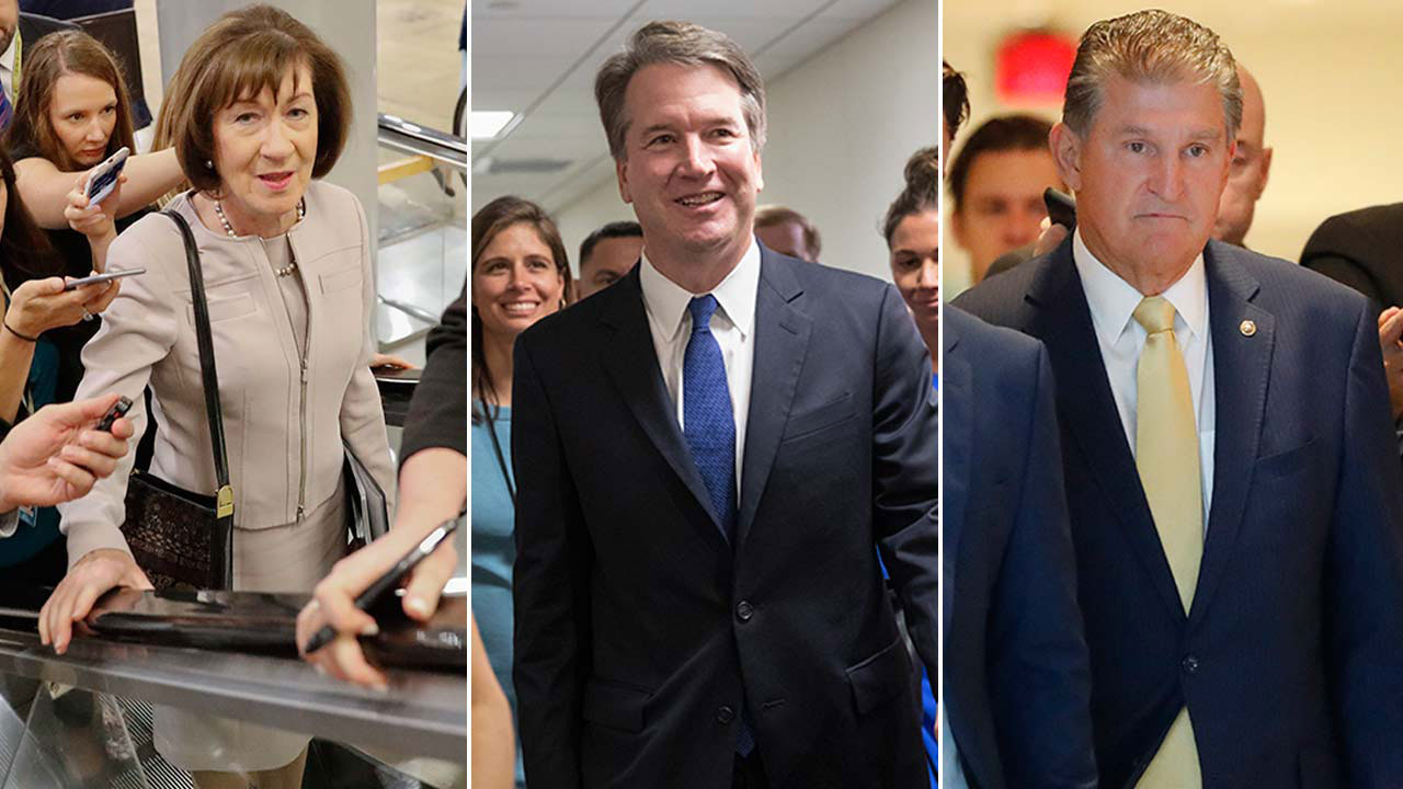 Undated photos of Republican Sen. Susan Collins, U.S. Supreme Court nominee Brett Kavanaugh and Democratic Sen. Joe Manchin.