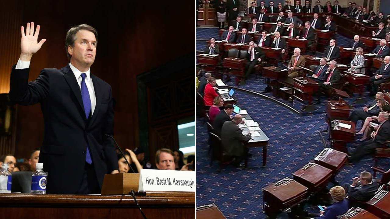 (Left) AP photo of Brett Kavanaugh being sworn in before the Senate Judiciary Committee. (Right) Senators hold a procedural vote on Kavanaughs nomination.