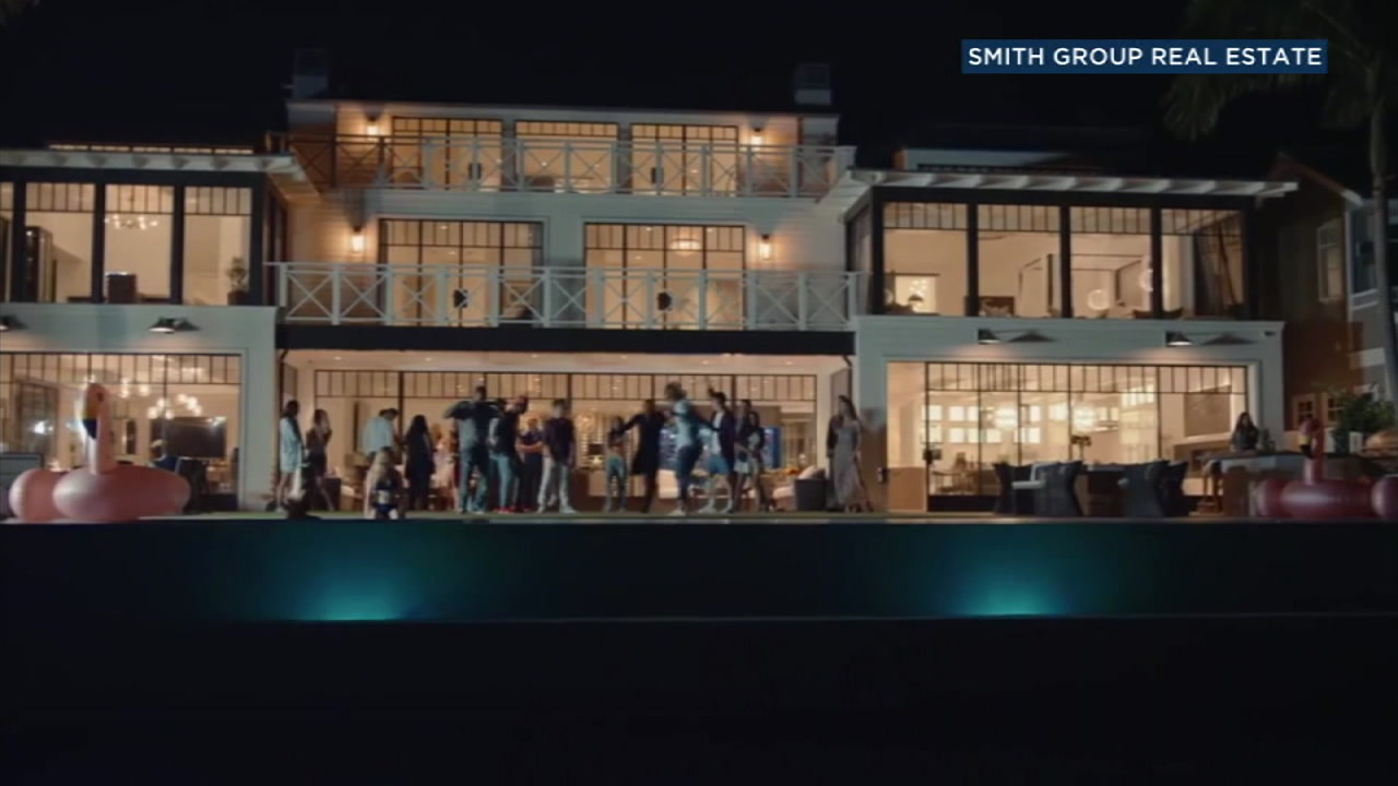 Footage from a music video for a $45 million home in Newport Beach is shown.