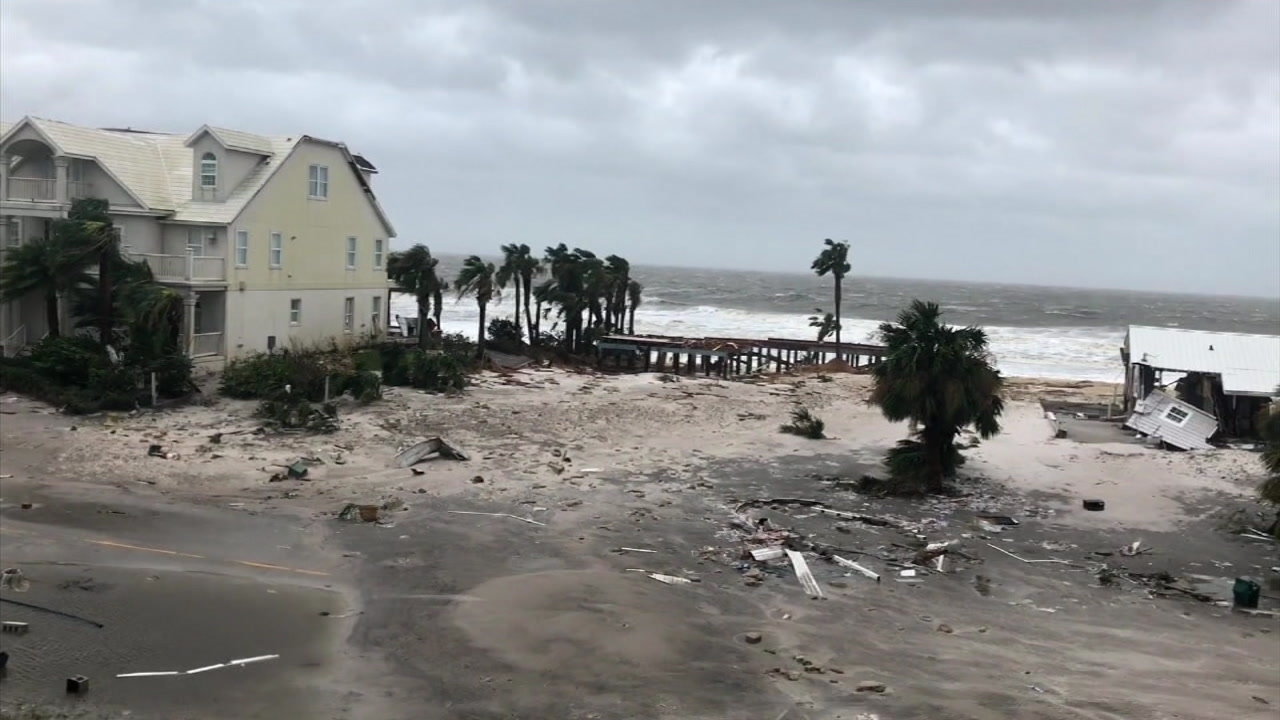 Two people were killed, homes were destroyed and neighborhoods flooded in Florida and Georgia by Michael, which is now downgraded to a tropical storm.