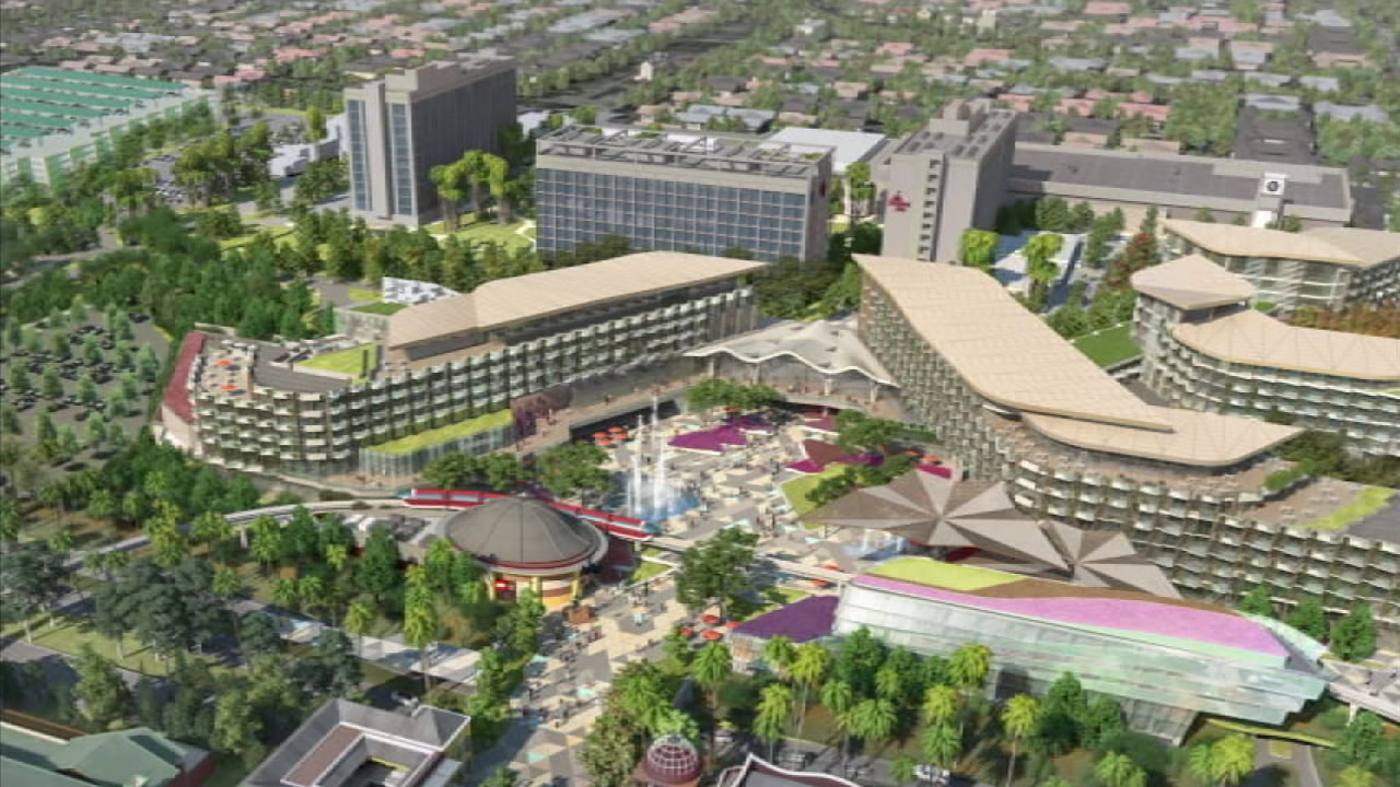 A rendering of the new and unnamed Disneyland hotel is shown in the Downtown Disney District. (Disney)