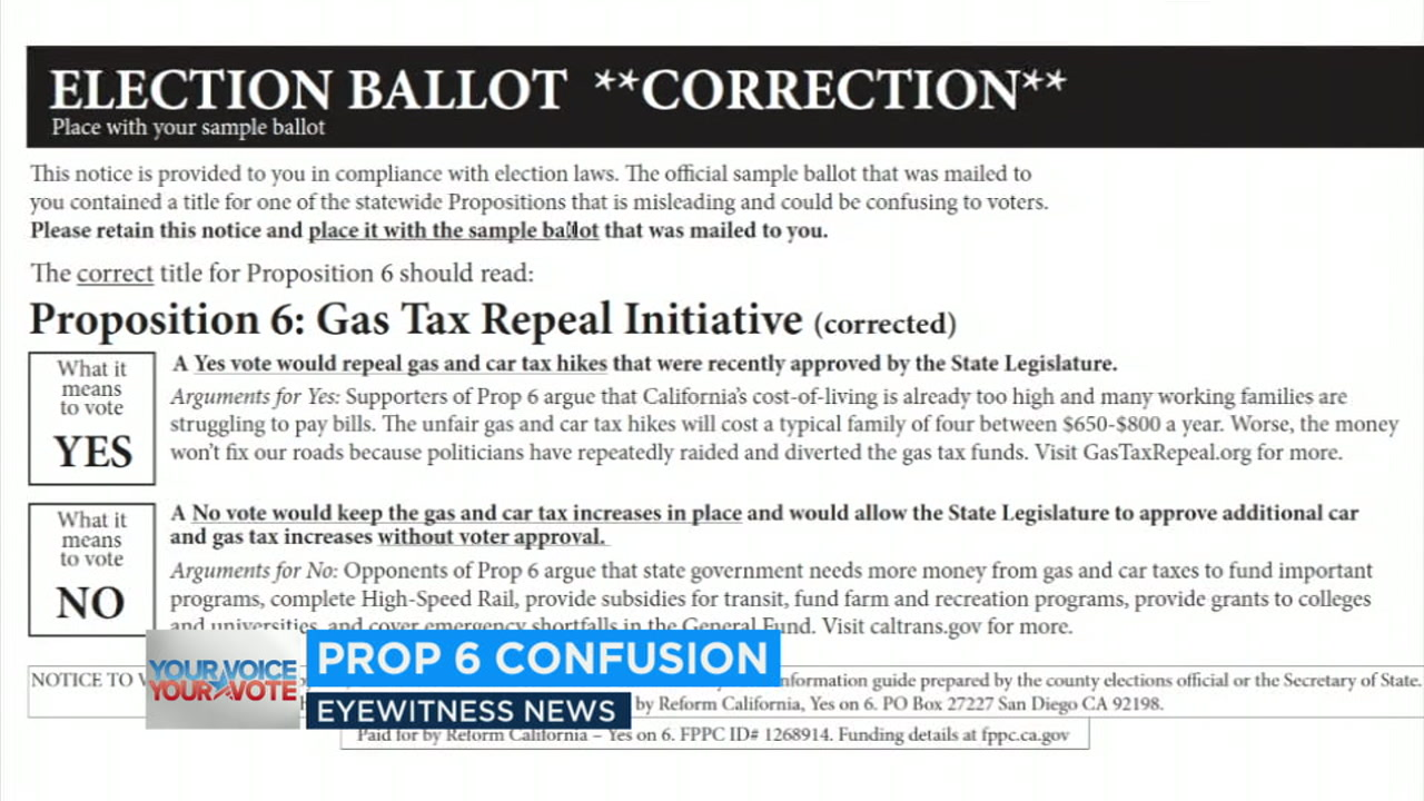 Mailers and robocalls sent out by supporters of Prop. 6 claim theres an error in the measure to repeal the gas tax - a tactic opponents call deceptive.