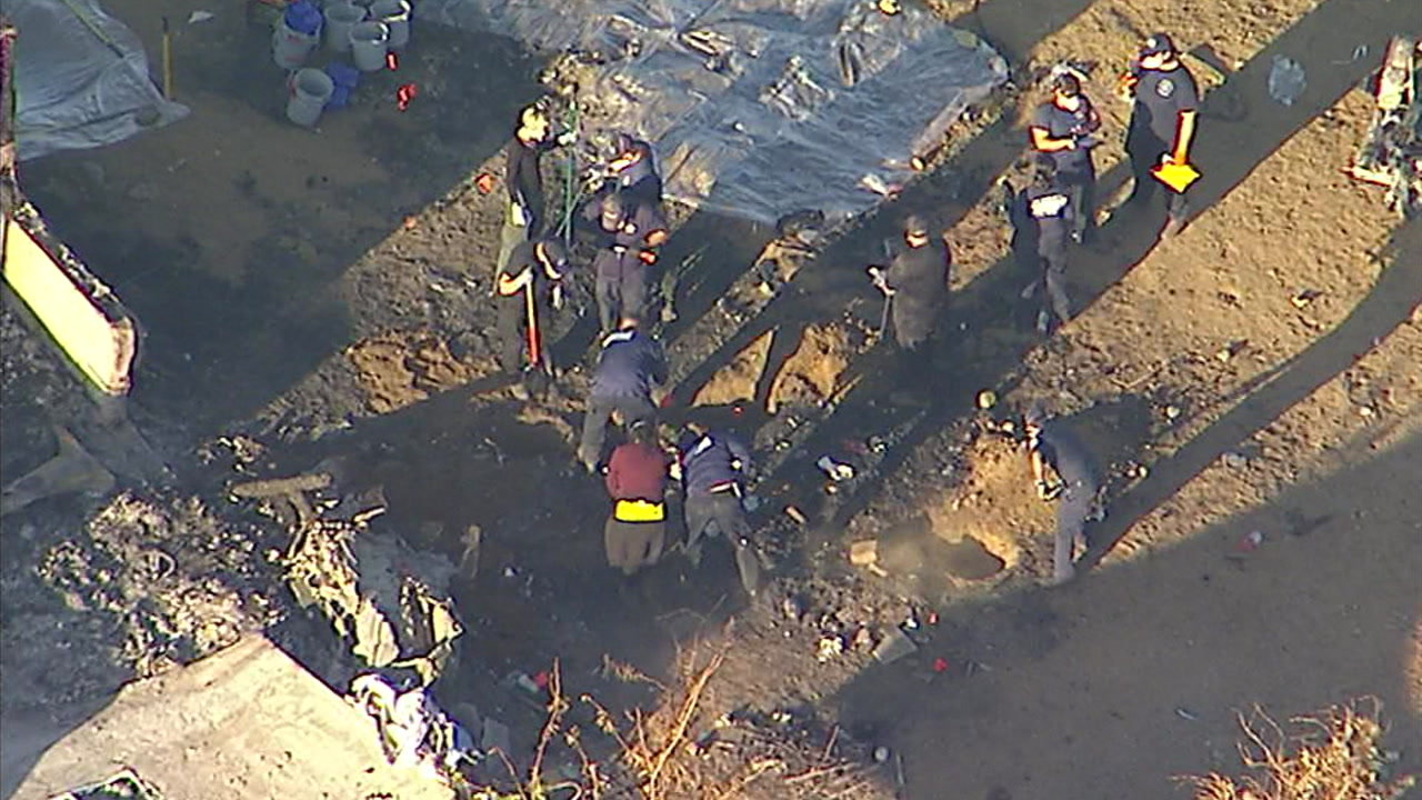 The Los Angeles County Sheriffs Department dug through a Littlerock property after remains that may be human were found.