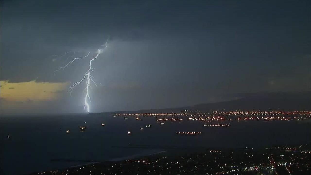 A lightning strike is shown off the coast of Long Beach in Southern California.