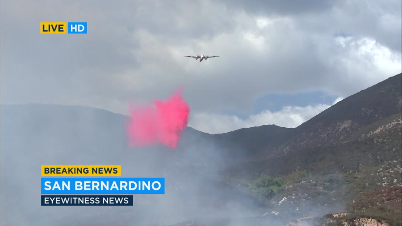 Air tankers were dropping flame retardant as firefighters battled a brush fire in the San Bernardino Mountains.