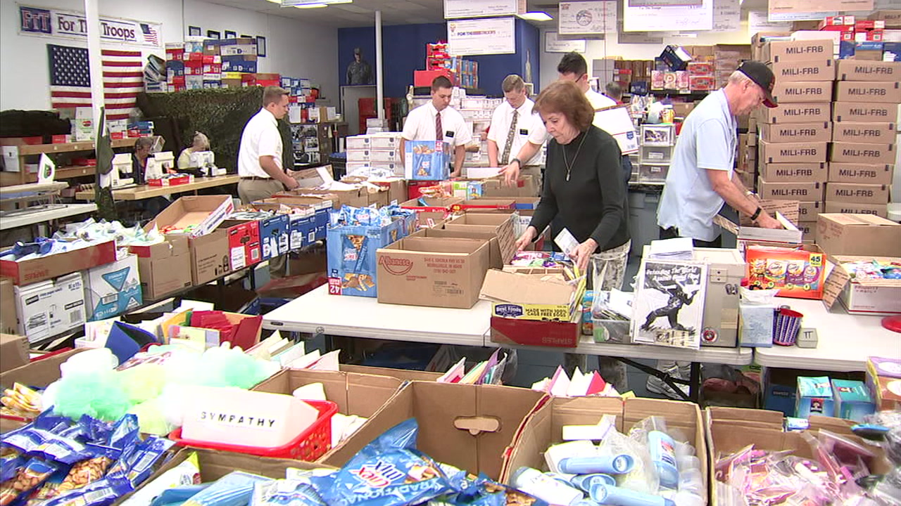 Volunteers in Simi Valley put together care packages from the nonprofit For the Troops to send to service members overseas.