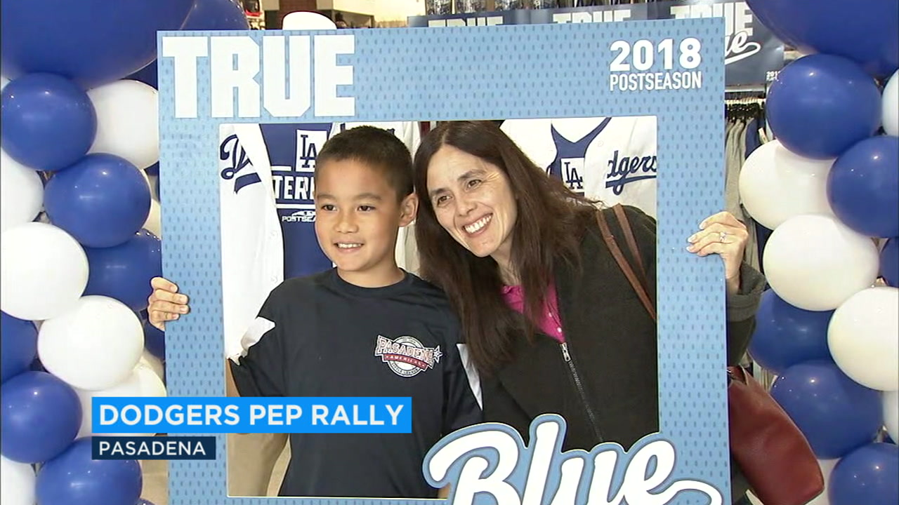 Dicks Sporting Goods in Pasadena held a pep rally for Dodger fans as the National League Championship Series comes to LA for Game 3 on Monday.