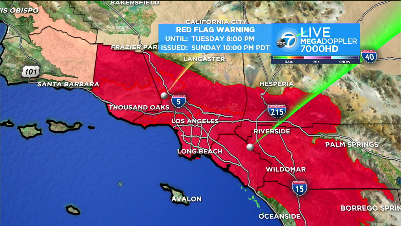 Southern California red flag warnings in place through Tuesday