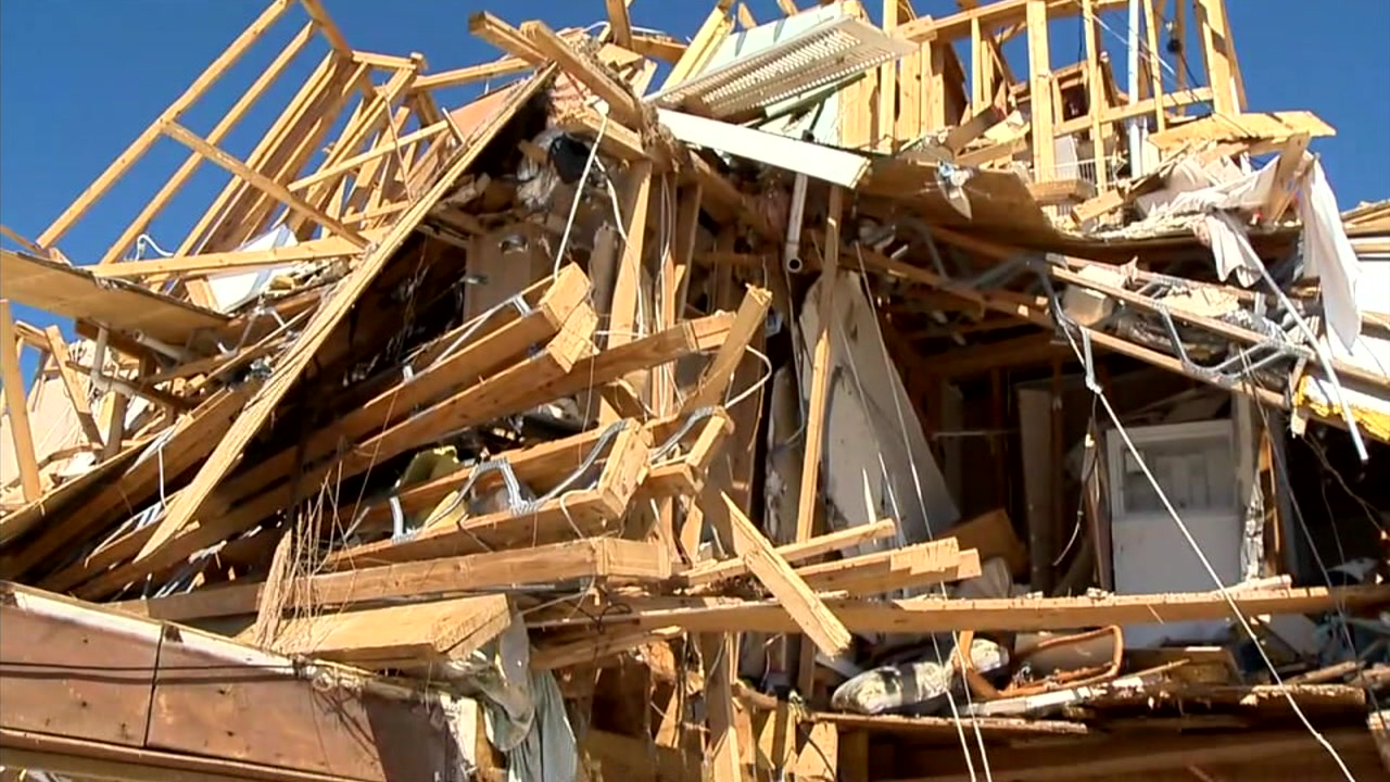 A home destroyed by Hurricane Michael is shown in a photo.