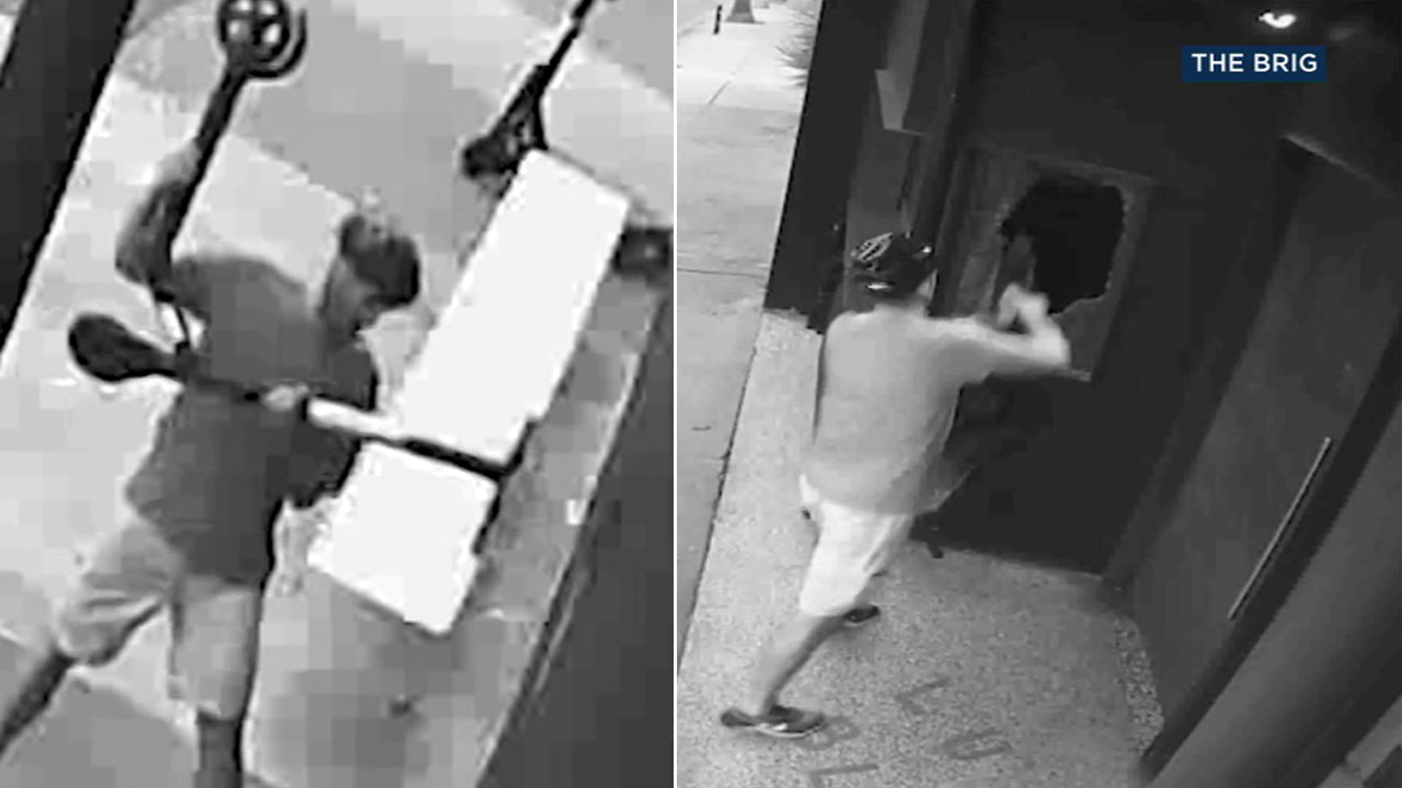 Surveillance video shows a man vandalizing a Venice Beach bar with Bird scooters and police want to find him.