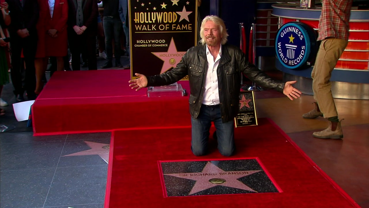 British media mogul Richard Branson, the founder of Virgin Records, was honored Tuesday with a star on the Hollywood Walk of Fame.