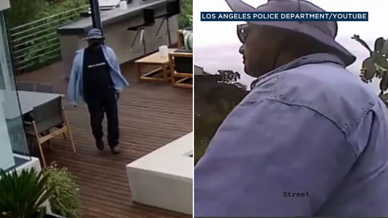 Surveillance photos show a suspect wanted in a burglary at a Hollywood Hills home on Oct. 3, 2018.